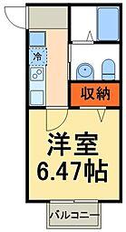 JR常磐線 我孫子駅 徒歩15分の賃貸アパート 2階1Kの間取り
