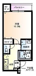 フジパレス堺鳳西I番館 2階1Kの間取り