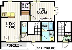 仮)中川3丁目メゾン 2階1LDKの間取り