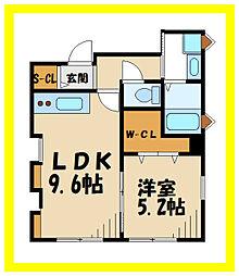 JR南武線 久地駅 徒歩5分の賃貸アパート 2階1LDKの間取り