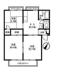 神奈川県横浜市緑区新治町の賃貸マンションの間取り