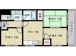 シャトー豊里[1階]の間取り
