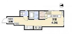 フラットワン[1階]の間取り