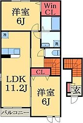 JR総武本線 佐倉駅 徒歩25分の賃貸アパート 2階2LDKの間取り