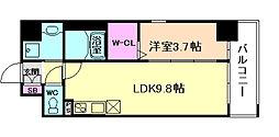 グランバース福島 8階1LDKの間取り
