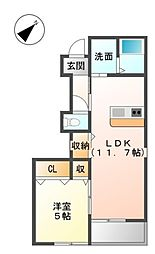 JR阪和線 和泉府中駅 徒歩28分の賃貸アパート 1階1LDKの間取り