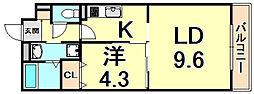 Opus One Nishinomiya 2階1LDKの間取り