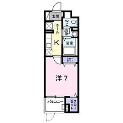 ルピナスIII 4階1Kの間取り