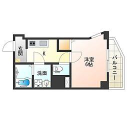 Osaka Metro中央線 阿波座駅 徒歩9分の賃貸マンション 10階1Kの間取り