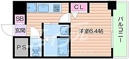Osaka Metro御堂筋線 大国町駅 徒歩3分の賃貸マンション 4階1Kの間取り