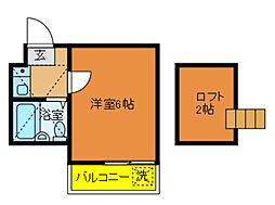 千葉県松戸市二ツ木の賃貸アパートの間取り