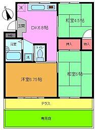 小塚山テラスハウス[102号室]の間取り