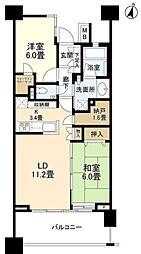 JR高崎線 大宮駅 徒歩5分の賃貸マンション 18階2LDKの間取り