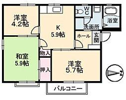 ピュア チェーレ A[2階]の間取り