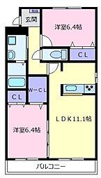 シャーメゾン ヴェルデ[3階]の間取り