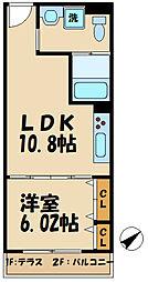 多摩都市モノレール 甲州街道駅 徒歩4分の賃貸アパート 1階1LDKの間取り