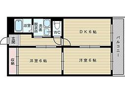 西口マンション[2階]の間取り