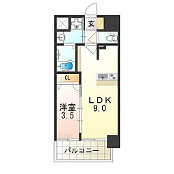 プレサンス立売堀ベルヴィル 7階1LDKの間取り