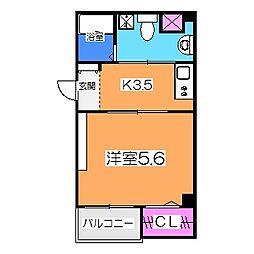 南海高野線 初芝駅 徒歩20分の賃貸マンション 1階1Kの間取り