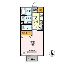 JR上越新幹線 新潟駅 13.1kmの賃貸アパート 2階1Kの間取り