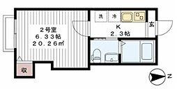 東武野田線 六実駅 徒歩5分の賃貸アパート 1階1Kの間取り