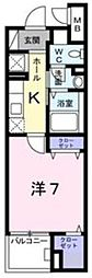 京王線 北野駅 徒歩8分の賃貸マンション 1階1Kの間取り
