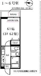 JR横浜線 大口駅 徒歩4分の賃貸アパート 3階1Kの間取り