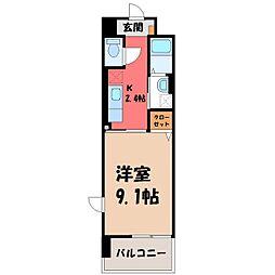 カシリ・エスポワール 2階1Kの間取り