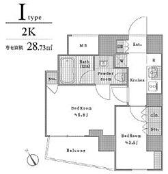 東京メトロ丸ノ内線 茗荷谷駅 徒歩4分の賃貸マンション 2階2Kの間取り