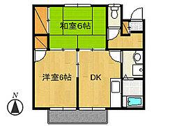 コーポ飯田B棟[202号室]の間取り