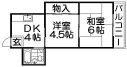 ブルースカイハイツ田井[2階]の間取り