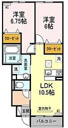 愛知県岡崎市欠町字三田田北通の賃貸アパートの間取り