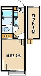JR高崎線 鴻巣駅 徒歩2分の賃貸アパート 1階1Kの間取り
