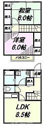 [テラスハウス] 東京都八王子市緑町 の賃貸【/】の間取り