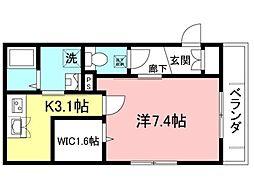 都営新宿線 曙橋駅 徒歩6分の賃貸マンション 2階1Kの間取り