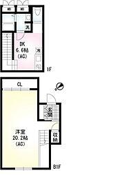 (仮称)翠川ビル新築工事 1階1DKの間取り
