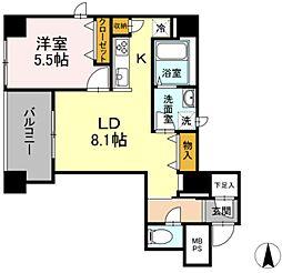 グランジット神田司町 11階1LDKの間取り