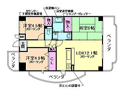 イーストサイド加島 4階3LDKの間取り