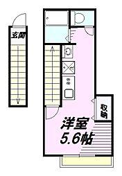 JR中央線 西八王子駅 徒歩3分の賃貸アパート 2階ワンルームの間取り