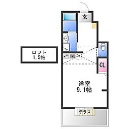 あんしん八田寺町08-1043 1階ワンルームの間取り