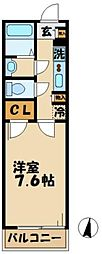 京王相模原線 南大沢駅 徒歩13分の賃貸マンション 1階1Kの間取り