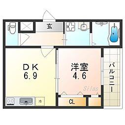 (仮称)フジパレス千代田五丁目 1階1DKの間取り