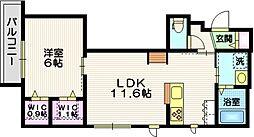 ザ・プレイス藤沢 2階1LDKの間取り