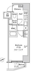 ニューガイア リルーム芝 8階1Kの間取り