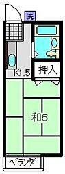 スカイハイツワカA[2階]の間取り