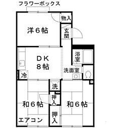 大阪府堺市中区深井沢町の賃貸アパートの間取り