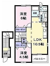 サンエトワールII 2階2LDKの間取り