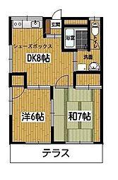 東京都町田市成瀬1丁目の賃貸アパートの間取り