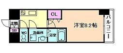 阪神本線 姫島駅 徒歩6分の賃貸マンション 6階1Kの間取り