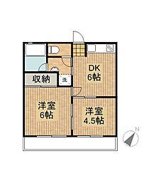 コーポYAHAGI[2階]の間取り